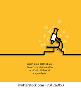 Microscope icon in line design. Analysis, science, medicine, pharmaceutical concept outline logo. Stroke pictogram on yellow background with sample text. Vector banner