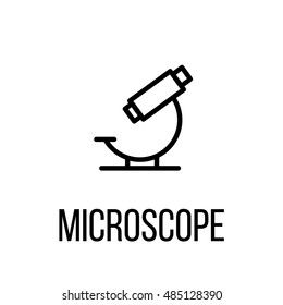 Microscope icon or logo in modern line style. High quality black outline pictogram for web site design and mobile apps. Vector illustration on a white background.