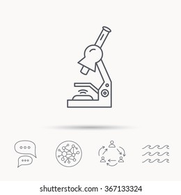 Microscope icon. Medical laboratory equipment sign. Pathology or scientific symbol. Global connect network, ocean wave and chat dialog icons. Teamwork symbol.