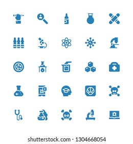 microscope icon set. Collection of 25 filled microscope icons included Virus, Microscope, Flask, Phonendoscope, Fossil, Education, Healthcare, Cells, Beaker, Petri dish, Science