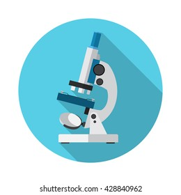 Microscope Icon Vector. Flat circle icon with long shadow