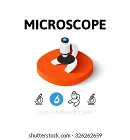 Microscope icon, vector symbol in flat, outline and isometric style