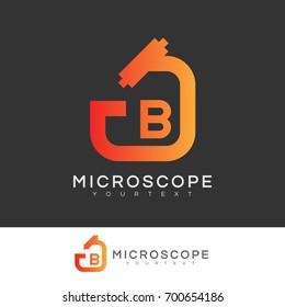microscope initial Letter B Logo design