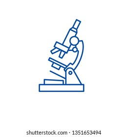 Microscope line icon concept. Microscope flat  vector symbol, sign, outline illustration.