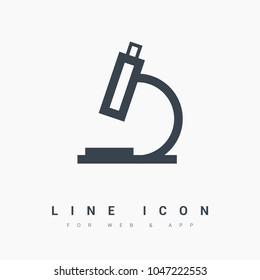 microscope line vector icon