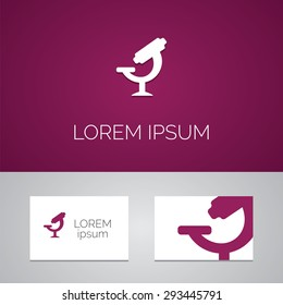 microscope logo template icon design elements with business card