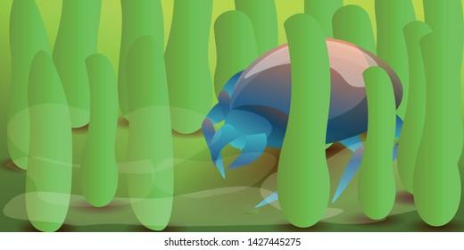 Microscope mite concept banner. Cartoon illustration of microscope mite vector concept banner for web design
