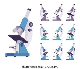 Microscope optical instrument set. Scientific laboratory equipment for viewing small objects, to magnify things. Vector flat style cartoon illustration isolated, white background, different positions