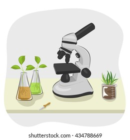 microscope, pipette and plants growing in laboratory flasks on table