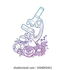 Microscope Rose Flower with Vintage Laboratory Design. Sciences Floral frame ornament vector style. Decoration Design Wreath illustration.