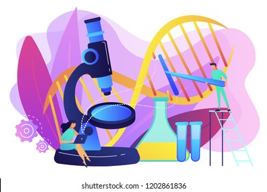 Microscope and scientists changing DNA structure. Genetic engineering, genetic modification and genetic manipulation concept on white background. Bright vibrant violet vector isolated illustration