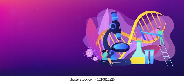 Microscope and scientists changing DNA structure. Genetic engineering, genetic modification and genetic manipulation concept on white background. Header or footer banner template with copy space.
