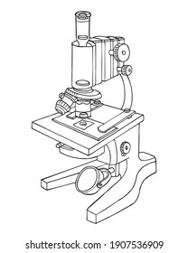 microscope sketch vector illustration, isolated on white background.Top view
