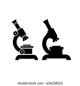 Microscope vector eps icon set isolated on white background