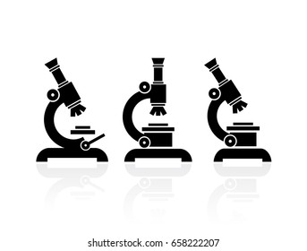Microscope vector icon set illustration isolated on white background