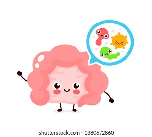Microscopic good bacterias,microflora,viruses in Intestine. Vector flat illustration icon cartoon character design. Human intestine microflora,probiotics. Digestive tract or alimentary canal