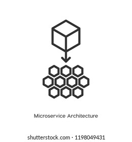 Microservice architecture vector icon, micro chips symbol. Moder