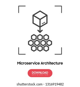 Microservice architecture vector icon, micro chips symbol.