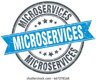 microservices round grunge ribbon stamp