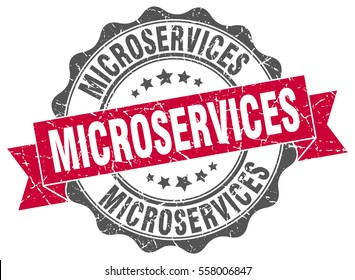 microservices. stamp. sticker. seal. round grunge vintage ribbon microservices sign