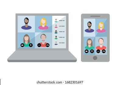 Microsoft Teams call. Remote working with a business meeting held via a video conference call. Teams joining via laptop and mobile phone.