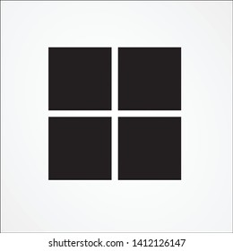 Microsoft Windows several graphical operating system. black square logo vector template
