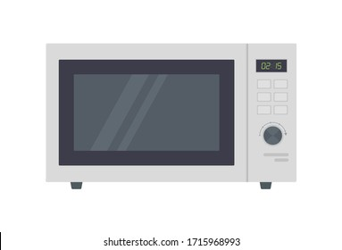 Microwave clip art. Cooking equipment, electrical appliances, kitchen technology concept. Stock vector illustration Isolated on white background in flat cartoon style.