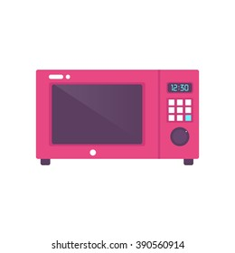 Microwave, flat, vector, red