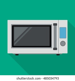 microwave icon in flat style with long shadow, isolated vector illustration on green transparent background