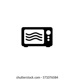 Microwave oven cooking vector icon