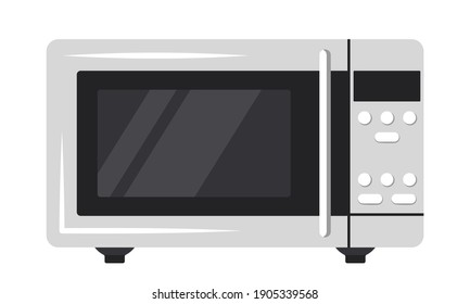 Microwave oven icon. Front view of kitchen appliances. Vector flat colour illustration isolated on white background