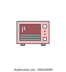 Microwave Oven icon. Kitchen appliances for cooking Illustration. Simple thin line style symbol.