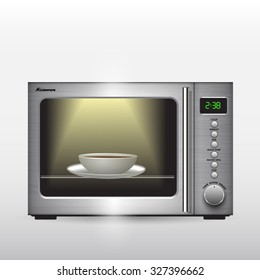 Microwave oven isolated on background. Vector illustration