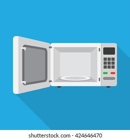 Microwave Oven with Open Door Vector, illustration