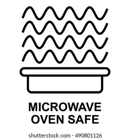 Microwave oven safe symbol, isolated vector illustration.