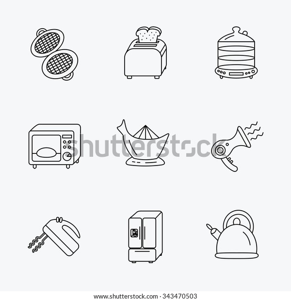 Microwave Oven Teapot Blender Icons Refrigerator Stock