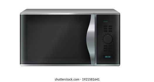 Microwave. Realistic kitchen appliance. Domestic electronic household equipment. Control panel with buttons and timer. Front view of vector electrical stove for cooking and heating or defrosting food