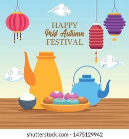 mid autumn chinese festival oriental card with chinese translate and celebration elements cartoon vector illustration graphic design - Shutterstock ID 1475129942