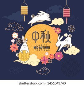 Mid Autumn Festival banner with rabbit,clouds,mooncake, flowers, lanterns for happy moon Chuseok festival.Hieroglyph translation is Mid Autumn Festival.Great for greetings cards,posters,web.Vector