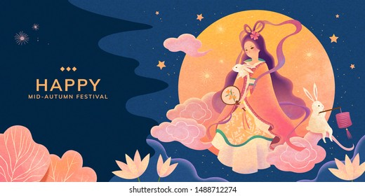 Mid autumn festival blue background, Chang'e and jade rabbit enjoy the full moon watching