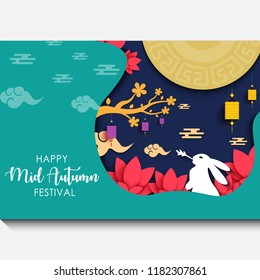 Mid autumn festival with cutout paper art