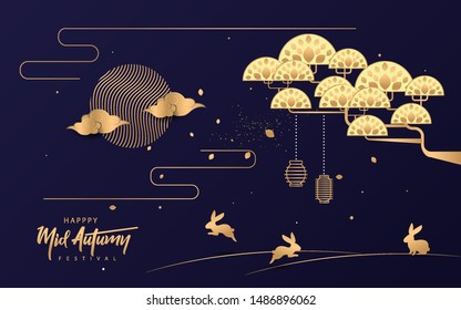 Mid Autumn Festival design. can use for, landing page, template, ui, web, mobile app, poster, banner, flyer, background