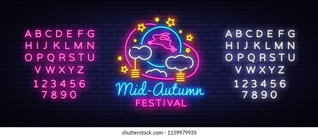 Mid autumn festival design template vector. Happy Mid autumn greting card, Light banner, neon style. Vector illustration moon rabbits for celebration Mid Autumn Festival. Editing text neon sign