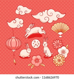 Mid autumn festival illustration, Chinese clouds, lantern and rabbits