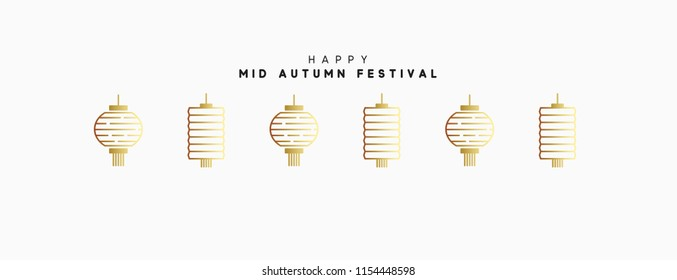 Mid Autumn Festival. National holiday in China. Chinese, traditional lanterns in line art style