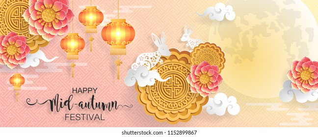Mid Autumn Festival with paper cut art and craft style on color Background.