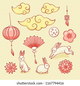 Mid autumn festival set, Chinese clouds, lanterns and rabbits