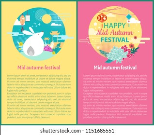 Mid autumn festival set of posters with text sample and cultural symbols. Rabbit and full moon of night. Architecture and flowers paper lantern vector