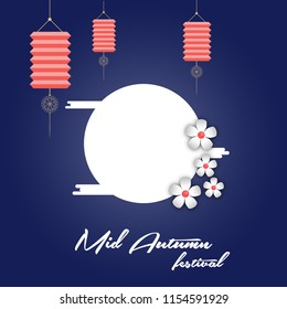 Mid autumn festival template design vector illustration with lantern and flower.