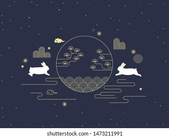 Mid autumn festival vector illustration with Korean traditional pattern and rabbits.